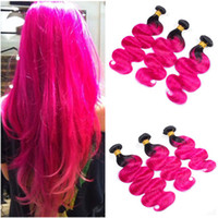 Body Wave Peruvian Ombre Hot Pink Human Hair Weaves Double W...