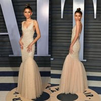 37cd3853b7 2018 Charming 90th Oscar Mermaid Prom Dresses With Sparkling Beads Pearls  Champagne Tulle Scoop Neck Formal Dresses Evening Wear