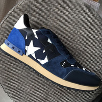 New 2018 men' s dark blue suede with star canvas leather...