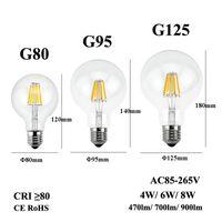 E26 E27 led خيوط لمبة 110/220 / 240 فولت اديسون شمعة ضوء G80 G95 G125 واضح زجاج مصباح ل تركيبات الرجعية قلادة الثريا