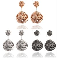 0. 8*1. 8cm Circle Spherical Hollow Charm Jewelry Women Stud M...