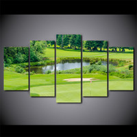 HD Printed 5 Piece Canvas Art Green Golf Course Painting Fra...