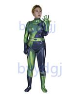 Shego Printing Costume Lycra Zentai Bodysuit Halloween Party Pak Gratis levering