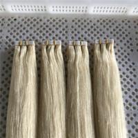 """Lummy Remy Humano PU Extensões de Cabelo Extensões de Cabelo 14 """"-26"""" 40 pcs 100G / Set Color # 60 Platinum Fita loira em extensões de cabelo"""