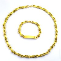 Steampunk Classic Necklace Bracelet Set Hip hop 18K Yellow G...