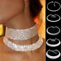 Женщины Crystal Hrinestone Воротник ожерелье Choker Ожерелья свадьба Bridal Party Ground Choker Цепи Ожерелье Кристалл Choker Ожерелье 5 Рядов