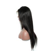 Peluca delantera del cordón del cabello humano recto con el pelo del bebé Pelucas del cabello 100% 100% humano para mujeres negras Color Negro Natural