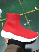 De Buena Calidad Rojo negro Speed ​​Trainer Casual Shoe Man Calcetines de mujer con caja Stretch-Knit Casual Boots Race Runner Sneaker barato