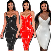 Sexy Womens Charol Slim Bodycon Dress Mujeres Faux Leather Wet-Look Brillante con cuello en V Midi Dress Party Clubwear Talla extra Nuevo