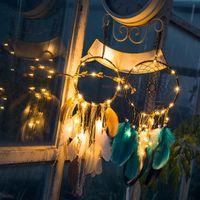 Led String 조명 크리 에이 티브 수제 인디안 팬시 드림 캐처 홀리데이 홈 파티 장식 선물 깃털 바람 종소리