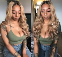 100% işlenmemiş remy virgin İnsan saç yumuşak renkli ombre renk renkli kadınlar için uzun vücut dalga tam dantel ipek üst peruk