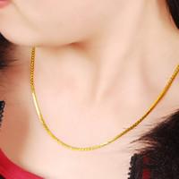 Großhandel Art und Weise 24k GP Frauen Halskette Schmuck reine Goldfarbe 3mm Schlange Knochen Kettenhalsketten für Frauen 45cm