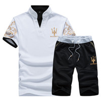 Summer Mens Tracksuit Maserati Printed Men Stall Collar V- Ne...