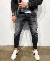 High Street Mens Washed Jeans New Pencil Denim Pants for Mal...