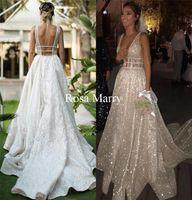Sparkly Plus Size Country vestidos de novia 2020 Sexy A Line V cuello sin espalda lentejuelas Árabe Diseño africano Boho Beach Boda vestidos de novia