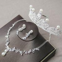 Gioielli da sposa di lusso perla con collana di diamante corona e orecchini accessori da sposa accessori da sposa set gioielli di moda gioielli moda vendita calda