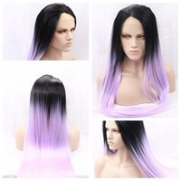 Fashion Cosplay Sexy Ombre Purple Long Silky Straight Lace F...