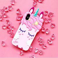 الوردي المطاط سيليكون لطيف الحصان مع رمش طويل يونيكورن حالة الهاتف شكل لفون X بنات