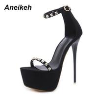 vente en gros rivet extrêmement hauts talons 16 cm femmes sandales sexy  plate-forme chaussures b0102d14d832