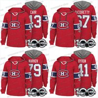 Homens 100º Montreal Canadiens Jerseys 41 Paul Byron 43 Daniel Carr 67 Max Pacioretty 79 Andrei Markov Hoodies Jerseys Camisolas