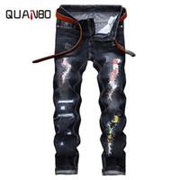 Sıcak Satış 2018 Geliş Yeni Erkekler Jeans Sokak Jeans Patch Düz Dilenci yama Mavi erkek Artı boyutu 42 Ripped