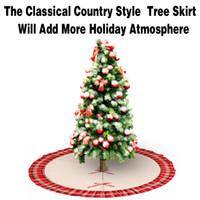 Falda de 48 pulgadas para el árbol de Navidad Lino de arpillera Navidad con borde de volante a cuadros Rojo y negro Estilo pastoral Arpillera a cuadros Falda de árbol Decoraciones