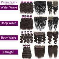 Brazilian Virgin Hair Weave With Frontal Mink Peruvian Strai...