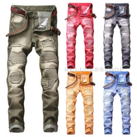 New Fashion Large Size 29-42 Mens Colorful Jeans Multicolor Moto Marea Pantaloni Strappati Slim Fit Casual Pantaloni lunghi Biker Novità Design