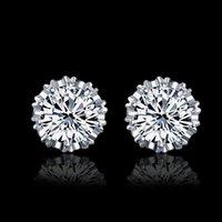 Nuovi orecchini in oro bianco 18 carati corona gioielli in cristallo naturale all'ingrosso di moda in argento sterling per orecchini da donna o da uomo