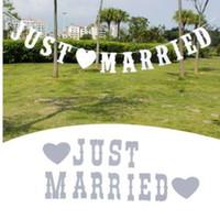 Vintage Wedding Bunting Just Married Photo Booth Prop Wedding Banner Party Decoraciones de la boda de la bandera