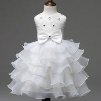 2019 New Fashion Girls Wedding Dress Inverno Formal vestido de baile Flor Crianças Roupa Roupa das Crianças Party Girl Dresses pacote de mala