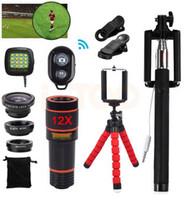 15 em 1 Kit de Lente Da Câmera Do Telefone 12X Teleobjectiva Lentes Telescópio Olho de peixe Macro Wide Angle lentes Para iPhone Smartphone