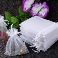 All'ingrosso-Libero 200pcs Borse di organza bianche disegnabili all'ingrosso 5x7 cm, sacchetti regalo, sacchetti di gioielli da sposa, sacchetti di caramelle piccole