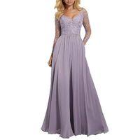 긴 소매 신부 들러리 드레스 V 넥 댄스 파티 드레스 공식 드레스 자수의 하녀 명예 드레스 드레스 드레스 드 Demoiselle d 'Honneur