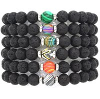 10 colors Natural Black Lava Stone Beads Elastic Bracelet Es...