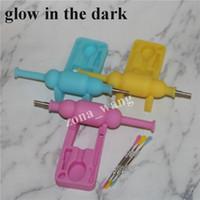 Glow in Dark Silicon raccoglitore di nettare SiliNectar acqua bong con 10mm titanio chiodo e strumenti Dabber Spedizione gratuita DHL