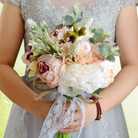 2018 새로운 인공 결혼식 꽃다발 레이스 라인 석 장미 브로치 신부 신부 들러리 꽃다발 해변 결혼식 CPA1540