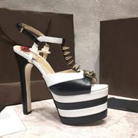 2018 16 cm sandales gladiateur à talons hauts femmes pointues rivets crâne cloutés plateforme peep toe été marque T chaussures de spectacle pour femmes