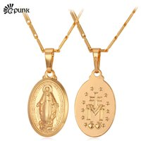 medal pendant virgin mary necklace gold color women lady je...