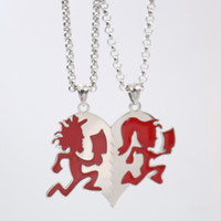 السفينة حرة gnayy تصميم جديد مجوهرات روك الأحمر المقاوم للصدأ برنامج المقارنات مجنون مهرج القلب الأحقاد رجل إمرأة قلادة قلادة رولو سلسلة 24 ''