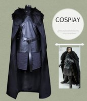 Game of Thrones Noites Assista Jon Snow Traje Cosplay Outfit Terno Vestido