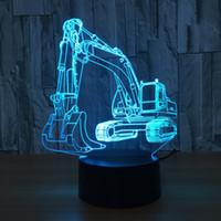Escavatore 7 lampada di colore 3d visiva Led Night Lights for Kids Touch USB Tabella Lampara Lampe bambino che dorme Nightlight luce movimento