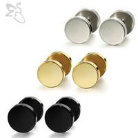 1 paire 3-14mm boucles d'oreilles punk mode ronde faux bouchon d'oreille en acier chirurgical piercing tunnel unisexe oreille piercing bijoux de corps