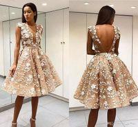 Элегантный халат De Soiree шампанское короткое платья выпускного вечера Sexy Open Back Lace Appliced Tulle Tulle 2018 коктейль платья формальные