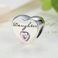New 925 Sterling Silver Daughter's Love Charm Pendente Bead con rosa Cz Adatto europeo Pandora gioielli stile collana bracciali c26