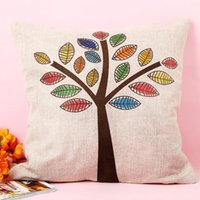 1pc Pillow Cover Colorful Trees Cushion Cover Decorative Mod...