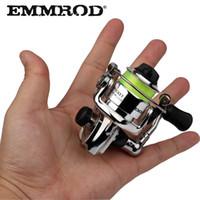 EMMROD HEIßER Mini100 Pocket Spinning Angelrolle Legierung Angelgerät Kleine Spinnrolle 4,3: 1 Metallrad pesca Kleine Rolle C18110601