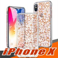 For iPhone X Clear Case with 3D Gold Sparkle Glitter on Hard...