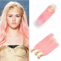 Bleach Blonde to Pink Hair Bundles with Lace Closure 613 Pin...