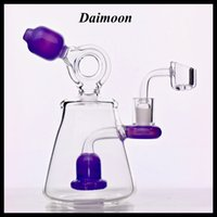 Purple Mini glass bong Recycler water pipe dab rig Shower Pe...